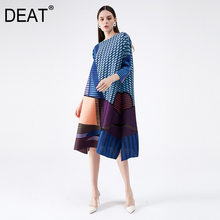 Deat 2021プリーツドレス女性幾何7オーバーサイズラウンド襟野生のヒットカラーcasaul秋のファッション潮AM402