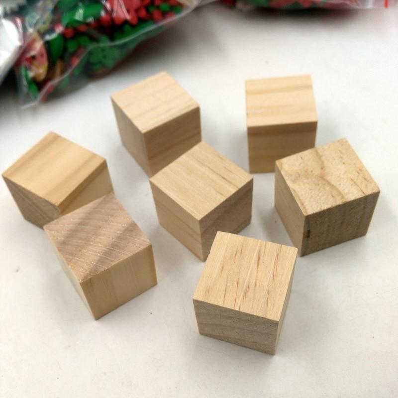 20x натуральные деревянные кубики, деревянные украшения, квадратные поделки 20 мм