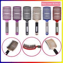 Cheveux cuir chevelu Massage Peigne brosse à cheveux soies femmes humide bouclés démêler brosse à cheveux pour Salon de coiffure outil de coiffure haarkam Peigne