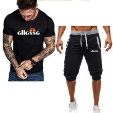 夏二枚セット男性のカジュアルトラックスーツブランドメンズプリントスポーツウェア tシャツを設定します tシャツ + ショーツフィットネスジムスーツ