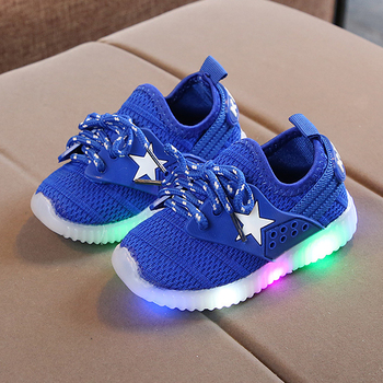 Led Sneakers Shoes Kids 2019 Autumn Toddler Sport Shoes Air Mesh Girl Boys Running Shoes Star Light Up Shoes tenis infantil