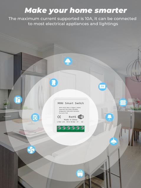 Мини переключатель Tuya «сделай сам» с поддержкой 16/10А Alexa Google Home Smart Life 5