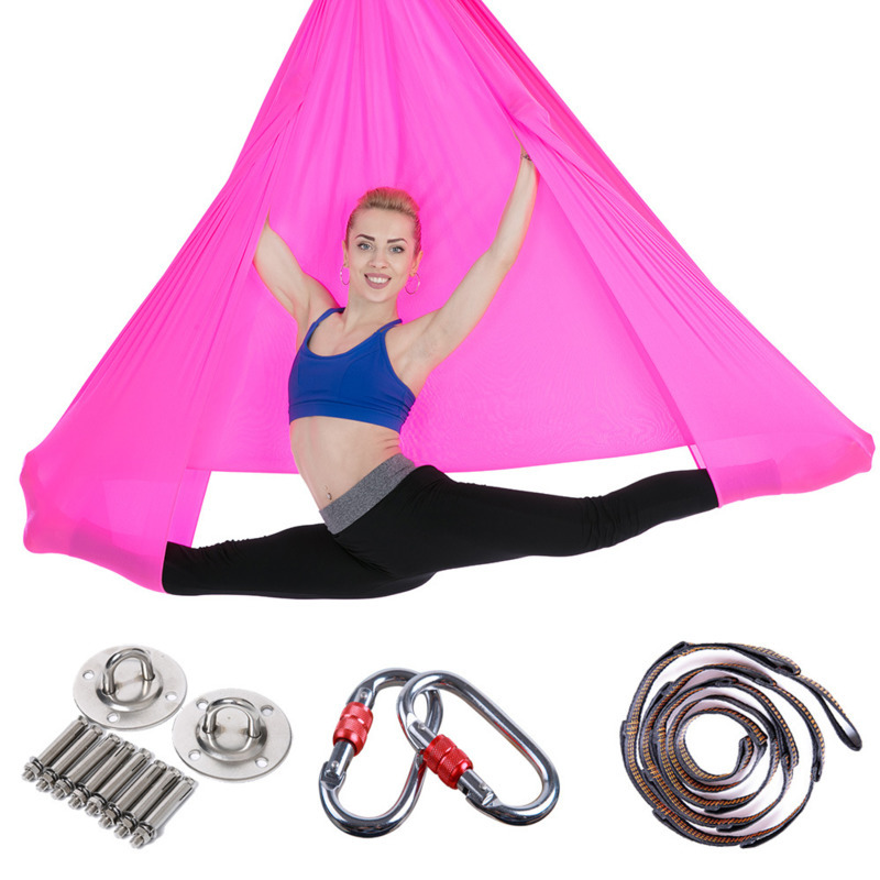Permalink to 5*2.8m Yoga Hammock Full Set Anti-Gravity Aerial Stretch Yoga Swing Inversion Fitness Hammock For Strength Exercise Flying Swing