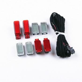 COSTLYSEED 8 Pcs Door Warning Light + LED Footwell Lights + Cable Fit A4 A5 A6 A7 A8 Q3 Q5 Q7 TT 3AD 947 409 8KD 947 411