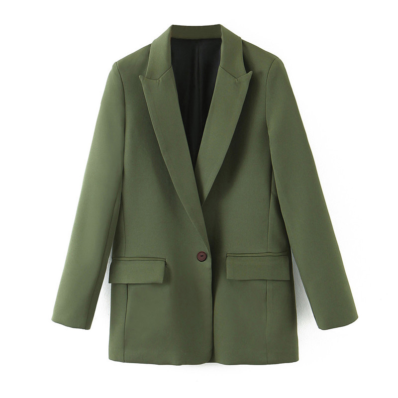 Stylish Office Lady Suit Blazers Coat Women Notched Collar Pockets Long Sleeve Outerwear 2020 Casual Chaqueta Mujer