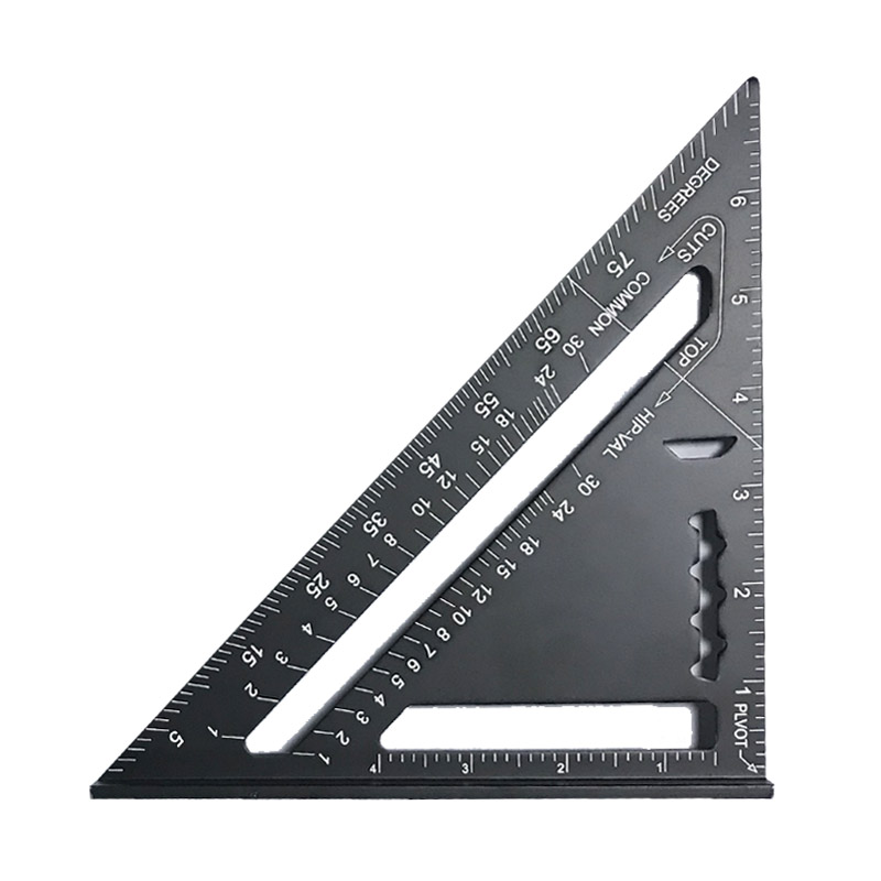 High Quality Aluminum Alloy 7 Inch Angle Protractor Miter Gauge Carpenter Speed Square Measuring Ruler School Class Supplies