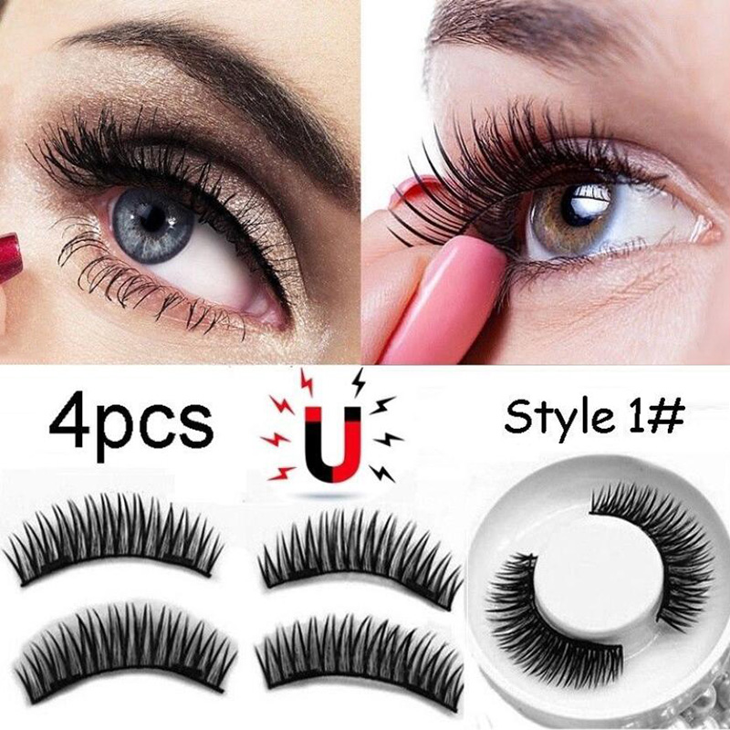 4pcs Magnetic Eyelashes Set Reusable Magnetic Lashes Natural Long Thick Cross Fake False Eyelashes Magnet Eyelash Makeup