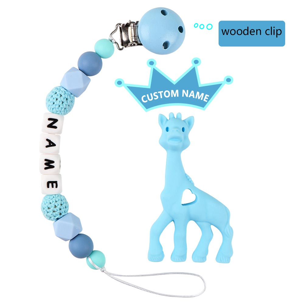 TYRY.HU Silicone Teething Pacifier Clips With Raccoon Silicone Safe Pacifier Clips Holder Chain Baby Chew Toys Personalized Name