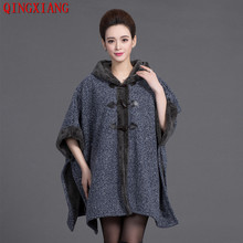 2019 Fashion Women Knit Poncho Winter Capes Faux Fox Fur Hooded Long Sleeve Cardigan Thick Warm Cloak Woolen Coat With Hat