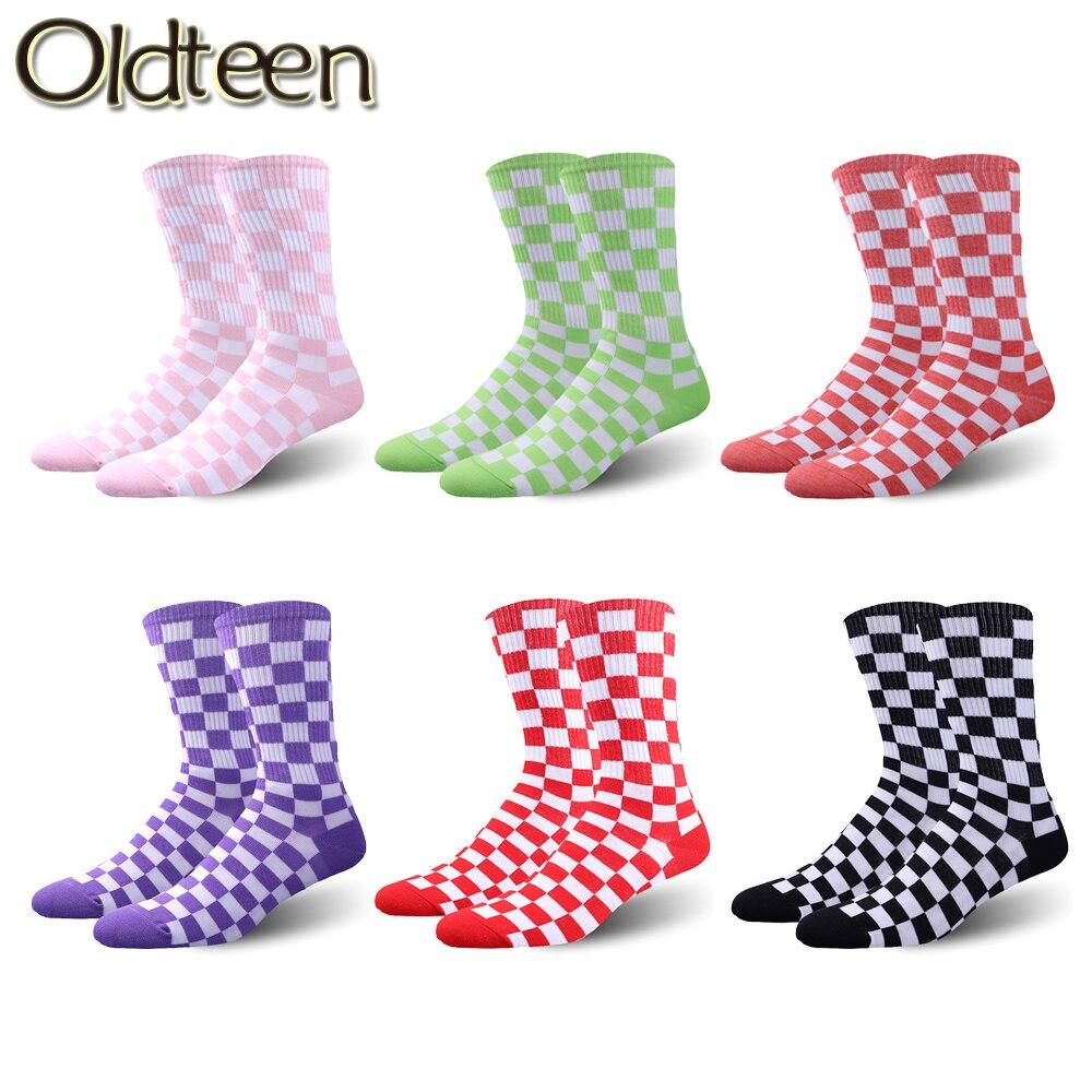 Calcetines de moda novedosa Harajuku para hombre y mujer, medias de cuadros geométricos de algodón, estilo Hip Hop, Unisex, nuevos calcetines
