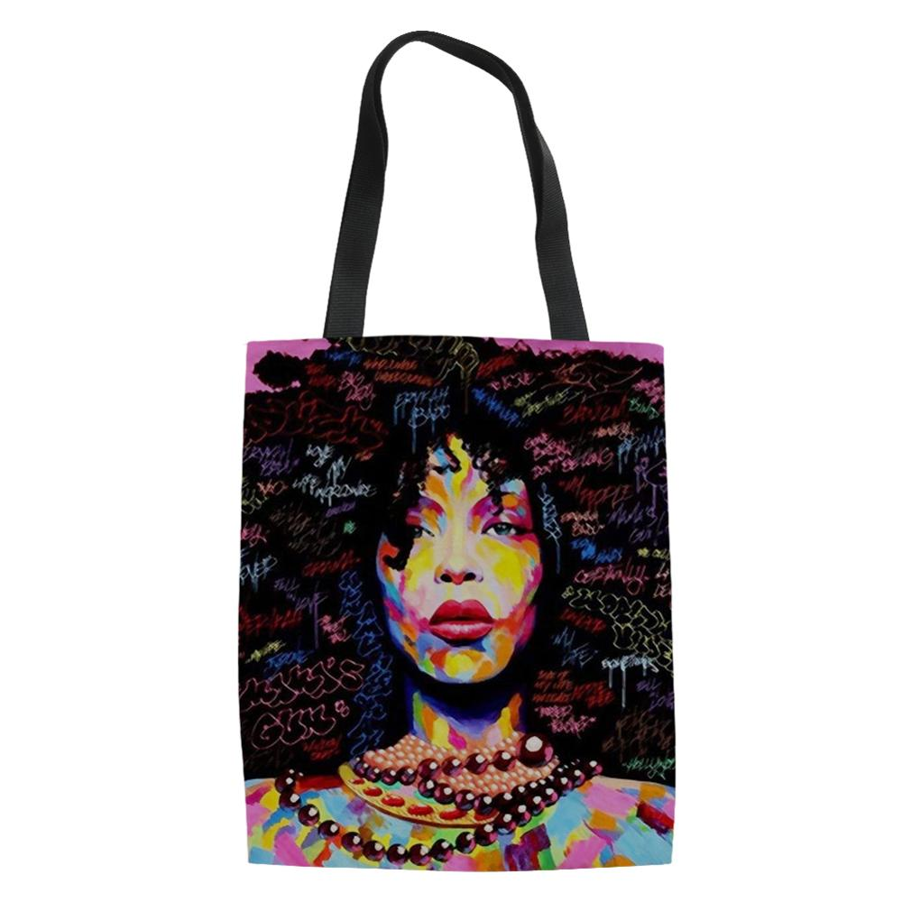 HaoYun Black Afro Girls African Prints Pattern Ladies Keep Calm Shoulder Bags Cartoon Afro Arts Design Linen Shoulder Handbags