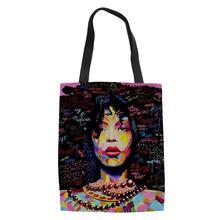 HaoYun Black Afro Girls African Prints Pattern Ladies keep Calm Shoulder Bags Cartoon Arts Design Linen Handbags