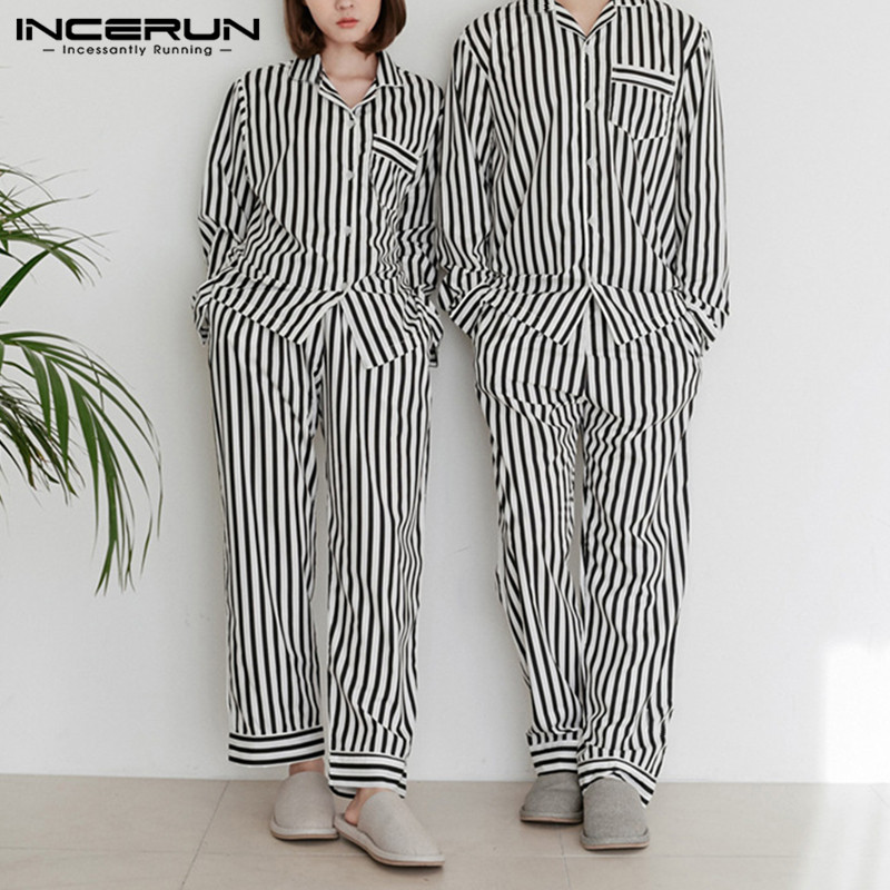 INCERUN Fashion Striped Couple Pajamas Sets Men Long Sleeve Tops Pants Mens Sleepwear Sets Nightwear Suits Homewear Plus Size