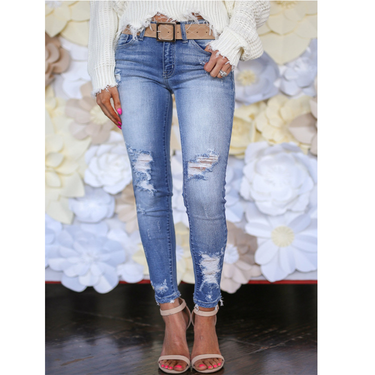 Jeans For Women Blue Vintage Fashion High Waist Jeans Women Casual Ripped Skinny Slim Fit Jeans Plus Size