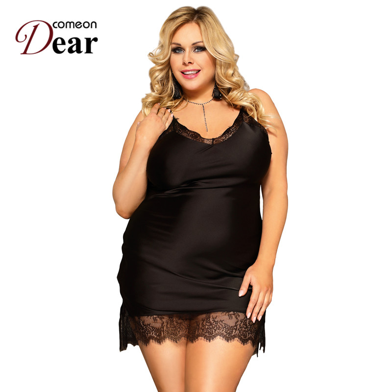 Comeondear Women Nightgowns Sexy Silk Satin Lace Lingerie Sleepwear Rope Plus Size Soft Loose Strap Night Dress 3XL 5XL RA80772