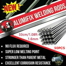 50 pces 330*1.6mm de alumínio fluxo-solução de hastes de solda cored nenhum pó de solda fio de solda soldar ferramenta de soldagem suprimentos venda quente