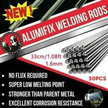 Varillas de soldadura de aluminio de baja temperatura, 330x1,6mm, alambre de soldadura en polvo sin soldadura, Material de soldadura de arco de argón TIG, 50 Uds.