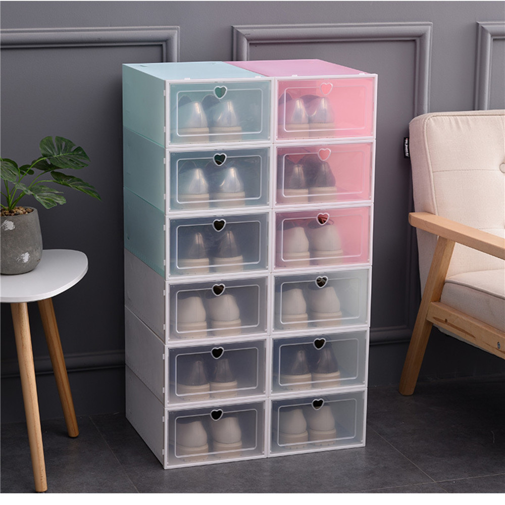 Transparent PP Plastic Flip Storage Shoe Box Shoe Box Shoe Cabinet Shoe Storage Box Foldable Drawer Shoe Box Heart-shaped