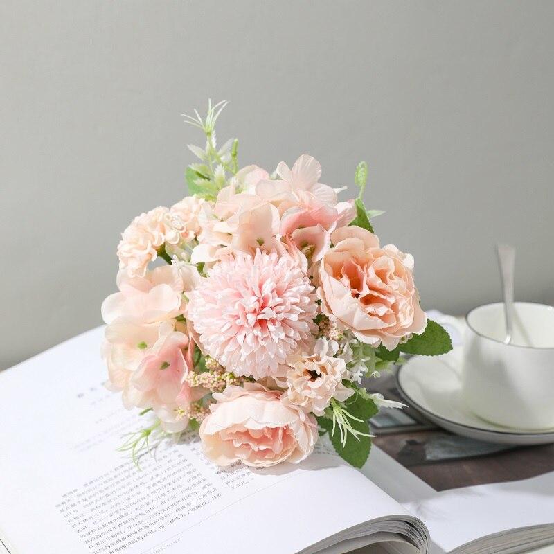 Yumai 7 Heads Hydrangea Silk Artificial Flowers Bouquet For Wedding Centerpieces Decor 2