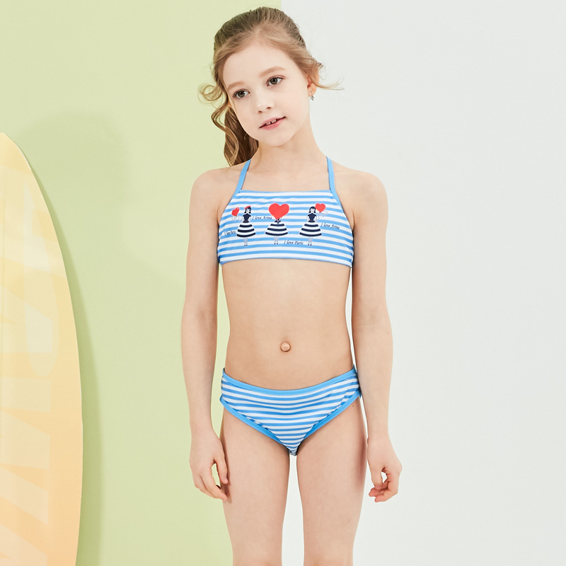 2019 New Baby Girl's Swimsuit Kid <font><b>Bikini</b></font> Swimwear Children Pretty Strip Top Halter Swimsuit for Girl Beachwear image