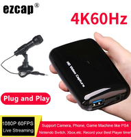 4K HD Video Capture Card USB 3.0 Game TV Programs Recording Box Recorder Support Mic in Microphone 1080P 60fps PC Live Streaming