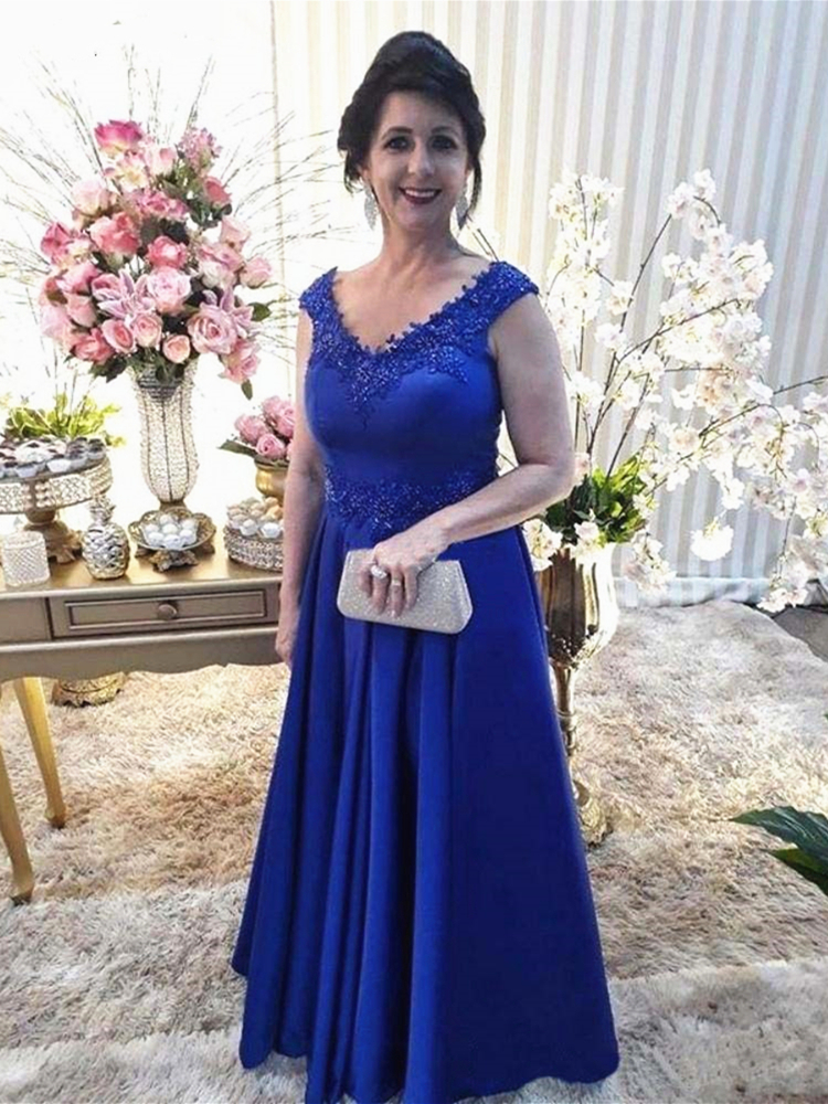 Royal Blue Mother of the Bride Dress Beading Appliqued Lace Formal Evening Gowns Mother of the Groom Wedding Party Dresses