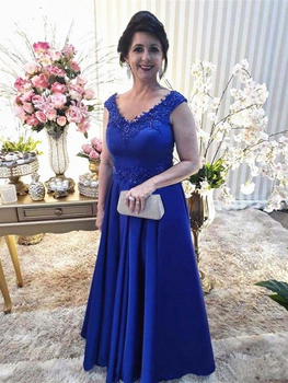 Royal Blue Mother of the Bride Dress Beading Appliqued Lace Formal Evening Gowns Groom Wedding Party Dresses