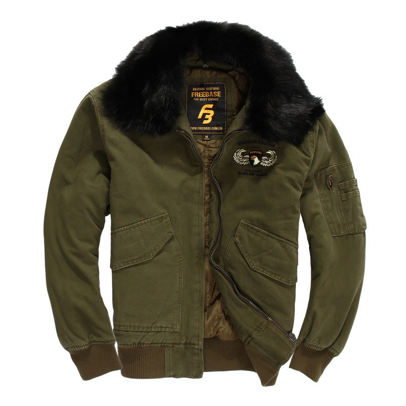 KIMSERE Men Winter Warm Flight Bomber Jackets Coats Coton Lined Outerwear With Fur Collar Thicken Thermal Clothing Army Green