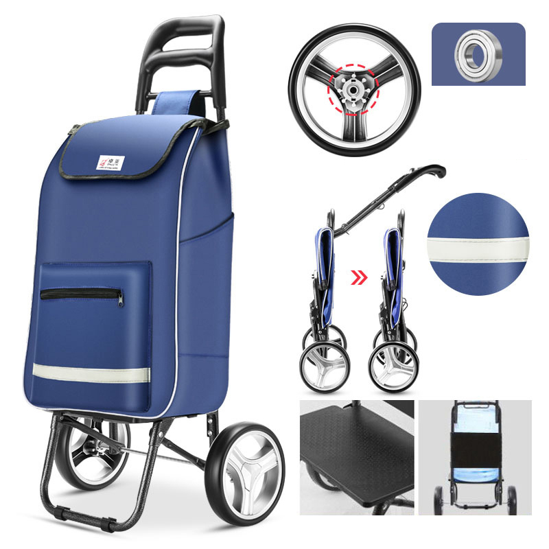 Stairs Shopping Cart Ladder Shopping Basket 40L Large Capacity Trolley Trailer Folding Waterproof Shopping Bags Trolley Cart