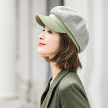 Visor-Cap Matching Winter Fashion Warm Autumn New Beret-Hat Outing Octagonal Patchwork
