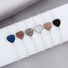 Fashion Triangle Resin Druzy Drusy Bracelet Faux Druse Stone Adjustable Gold Silver Chain Jewelry for Women Gift 2019