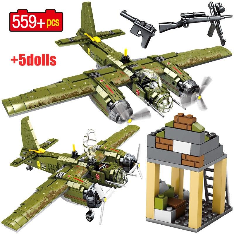 Military P38 Lighting Fighter Airplane Model Building Blocks For Legoing WW2 German Bomber Figures DIY Bricks Toys For Children