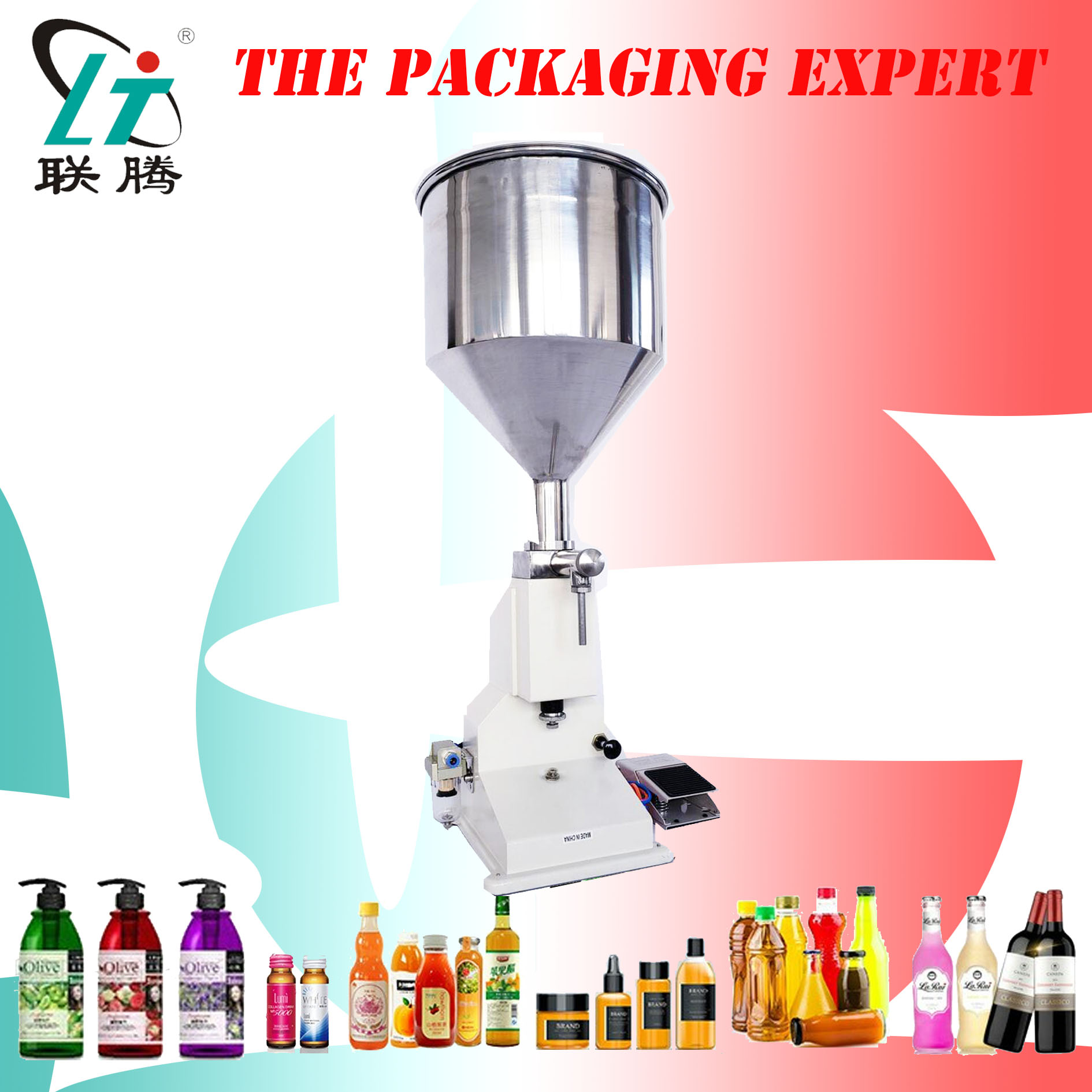 Pneumatic Filling Machine 50ml For Cream Paste Manual Filler Cream Honey Shampoo Lotion Cosmetic Liquid Perfume Free Shipping