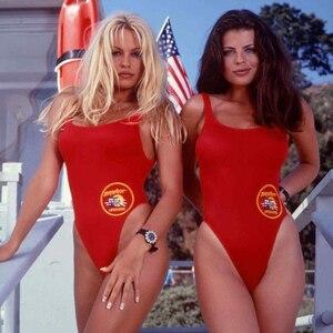 BFUSTYLE amerikan BAYWATCH aynı tek parça mayo kadın kadın seksi parti kırmızı mayo Bather artı boyutu mayo
