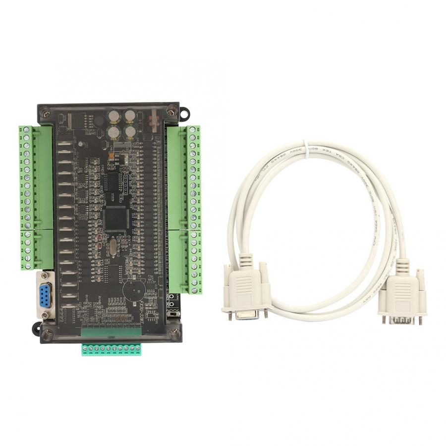 PLC Controller 14 Point Input 10 Transistor Output DC24V Programmable Logic Controller 100K Pulse 32bit MCU Industrial Control Board with Housing for FX3U-24MT