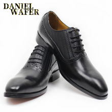 Men Genuine Leather Formal Shoes Oxford Office Business Wedding shoes Dress Man Lace-up Brown Black Pointed