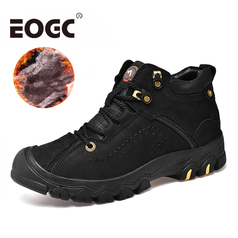 Handmade Natural Leather Men Boots Size 36-48 Super Warm Lace Up Winter Shoes Men High Quality Ankle Snow Boots For Men Shoes