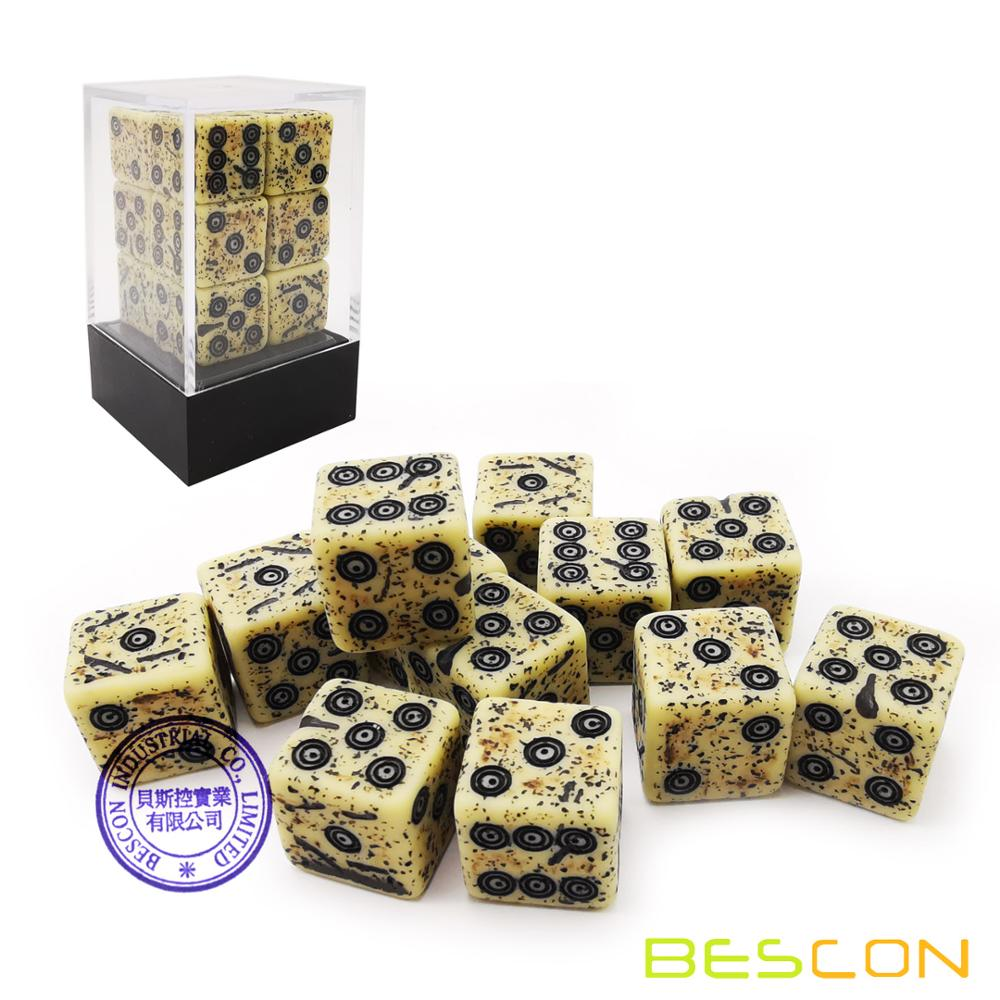 Bescon Old Looking Ancient Bone Dice D6 16mm 12pcs Set, 16mm Six Sided Die (12) Block Of Stone Dice