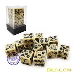 Bescon Old Looking antiguo hueso dados D6 16mm 12 Uds Set, 16mm seis lados Die (12) bloque de dados de piedra
