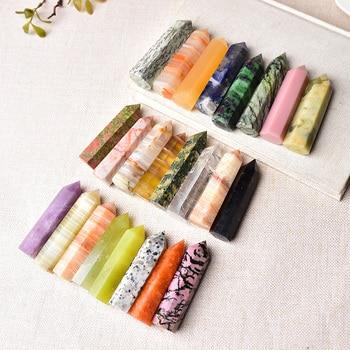23 Color piedras naturales y de punto de cristal varita para curación para Reiki torre de piedra de energía mena Mineral pulido artesanía decoración del hogar