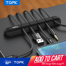TOPK Silicone USB Cable Winder Desktop Cable organizer Management Multipurpose Clips Cables Protector for Wired headphones