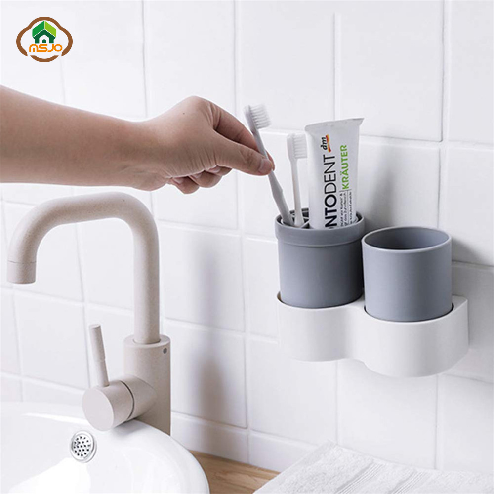 MSJO Toothbrush Case Travel Plastic Portable Cup Cover For Toothpaste Toothbrush Box Holder Cover Wall Stand Bathroom Accessory image
