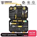 Набор ручных инструментов DEKOPRO  128 шт.  набор ручных инструментов для дома с пластиковым ящиком для хранения  плоскогубцы  отвертка  нож