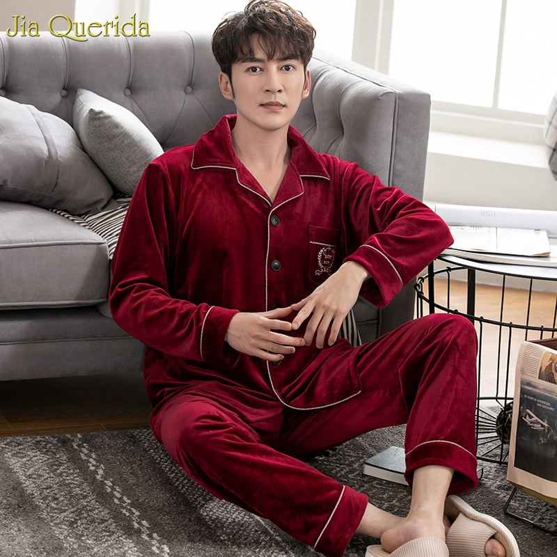 Pijama Mans Winter Warm Flannel Sleepwear Plus Size Cardigan Solid Elegant Pijama Man Set Soft Warm Loungewear Fashion Nightwear
