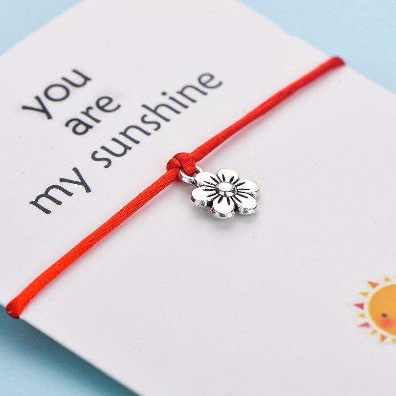 IYOE You Are My Sunshine браслеты ручной работы с подвесками в виде цветка для женщин, подарок для детей, винтажный браслет дружбы в стиле бохо, красные...