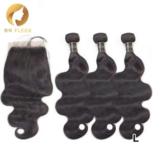 Hair Hair-Extensions Closure Brazilian with Lace Remy 3 Human-Hair-Bundles Dollface Body-Wave