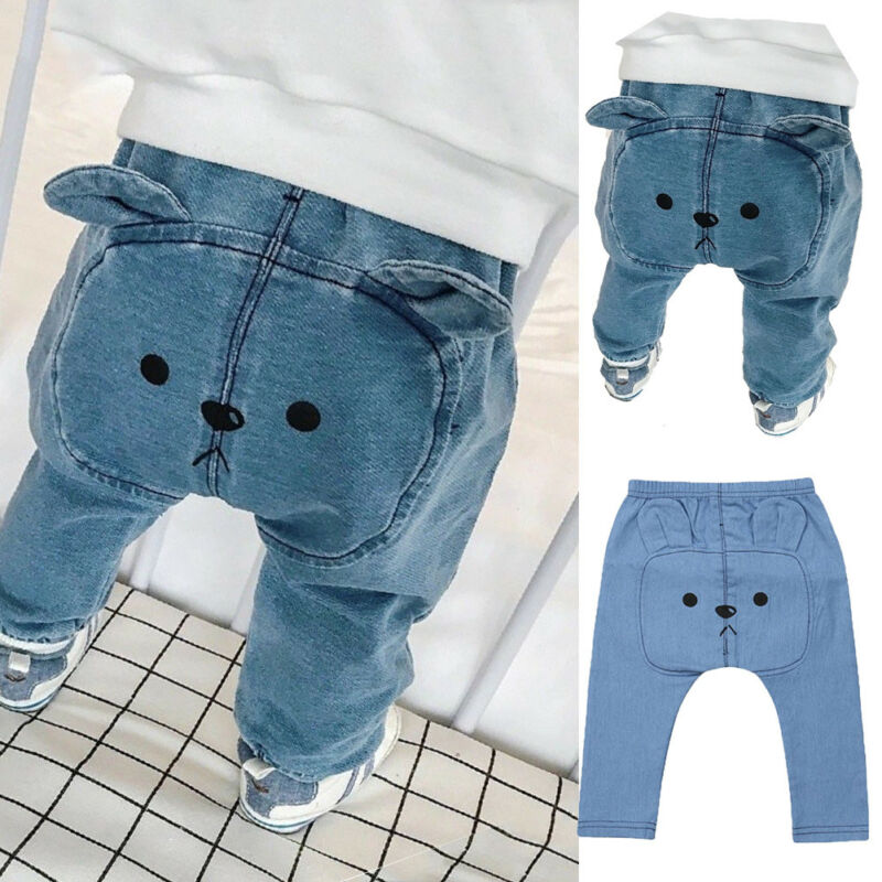 Newborn Baby Boy Girls Kids Harem Pants Long PP Trousers Leggings Bear Bottoms Casual