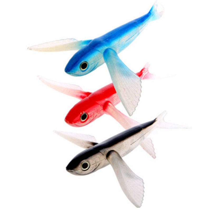 2019 Seawater Fishing Lure Flying Fish 18cm Soft Bait Fishing Lure Sea Angling Curls Trolling Tuna Mackerel Fishing Lures