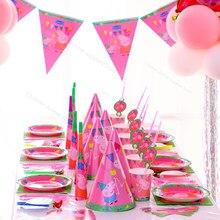 Peppa pig feliz aniversário festa decoração suprimentos dos desenhos animados descartáveis festa de mesa copo chapéu bolo faca garfo e colher placa