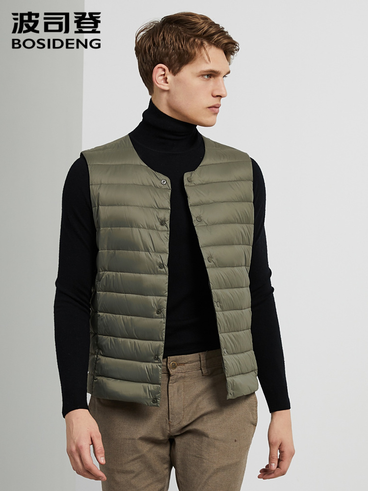 BOSIDENG 2019 Men Down Vest Solid Color O-neck 90% Duck Down Warm Inner Vest B90130001